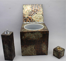 Paul Evans Brutalist Ice Bucket & 2 table lighters / signed/ CC Designs original