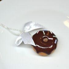 Collana con donught ciambella cioccolato fimo miniatura gioielli alimentare San Valentino