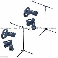 2PACK studio tripod folding boom arm stage mic stand microphone & clips holder