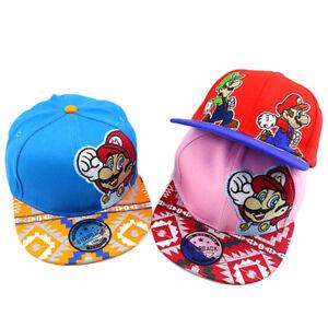 Boys Girls Super Mario Bro Baseball Cap Kids Embroidery Snapback Hat Cosplay