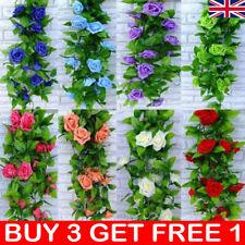 2x 8Ft Artificial Rose Garland Silk Flower Vine Ivy Wedding Garden String UK
