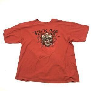 TEXAS Sugar Skull Mens Rust Orange Shirt Size L Large Baggy Fit Soft Casual Tee