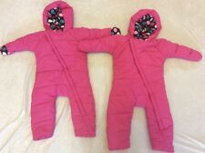 One Step Ahead Snowsuit Lot 12-18 Pink Baby Twins Girls Ez On