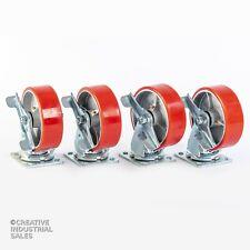 6 X 2 Swivel Casters Polyurethane Whsteel Hub With Brake 1200lb Ea 4 Tool Box