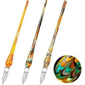 3 Pieces Handmade Glass Dip Pen, High Borosilicate Crystal Glass Pen Calligraphy