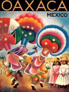 TRAVEL TOURISM OAXACA MEXICO TRADITIONAL DANCERS HEADDRESS ART POSTER CC6931