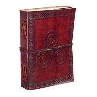 Fair Trade Handmade Celtic Triskelion Leather Journal Notebook Diary