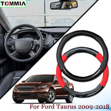 Black Carbon Fiber Leather Car Steering Wheel Cover For Ford Taurus 2009-18