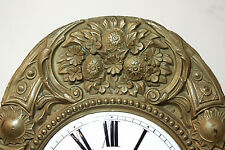 Antique French Comtoise Clock Movement, Bell, Enamel Face, Grand Father Clock