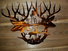"DEER HEADS WITH DEAR STAND. Hand Made in Waco Texas ""CNC Plasma"" wall art decor"
