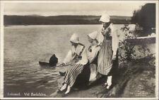 Leksand Sweden Native Women in Costume Vid Barkdalen Real Photo Postcard