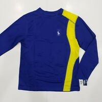 New with tag NWT Boys RALPH LAUREN Blue Long Sleeve POLO Mesh Athletic Shirt M