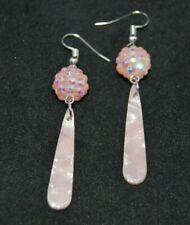 Tortoiseshell and Shamballa Earrings in Pink. Handmade in UK