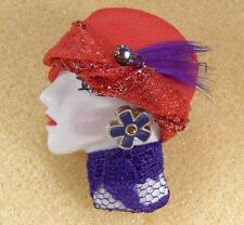 LADY HEAD woman FACE Porcelain-Look Resin pin brooch Red Hat Purple lace RS OOAK