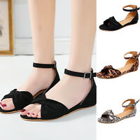 Women Flat Low Heels Sandals Summer Ankle Strap Open Toe Casual Party Shoes Size