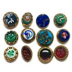 Antique Buttons ~ Great Collection of 19th Century Glass in Metal Waistcoats
