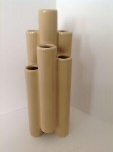 Vintage MIKASA Mid-Century Bud Vase Mocha Gold Tubular