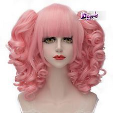 30CM Pink Curly Ponytails Hair Lolita Anime Synthetic Cosplay Wig + Wig Cap