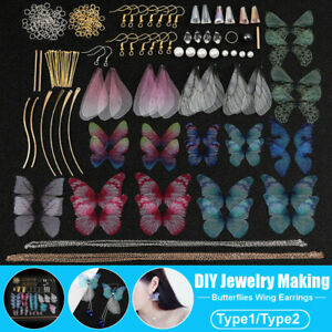 DIY Earrings Jewelry Making Kit Supplies Handmade Colorful Butterfly Wing