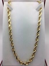 """14K Solid Yellow Gold 24"""" Rope Chain Diamond Cut Link Chain Necklace 119.6 g 8mm"""