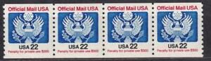 USA 1985 Official Mail 22¢, MNH coil strip of 4, sc#O136