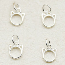 4 pcs Solid 925 Sterling Silver Hollow Cat Kitten Head Face Charm Pendants Set