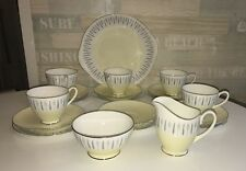 Art Deco Style Adderley Arcadia Lemon& Grey  Bone China Tea Set - 20 pcs