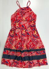 TOMMY HILFIGER Women's Printed Strappy Summer Dress, Red, size LARGE