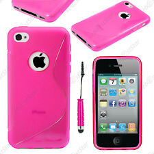 Housse Etui Coque Silicone Motif S-line Rose Apple iPhone 4S 4 + Mini Stylet