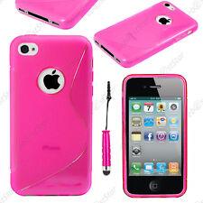Housse Etui Coque Silicone Motif S-line Rose Apple iPhone 4S 4 + Mini Stylet