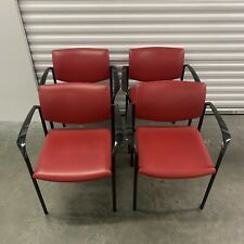 Steelcase Player Chair Set Of 4 - Red Leather Stackable