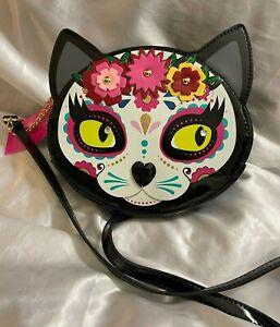 Betsey Johnson Kitsch 'Sugar Skull Cat' Crossbody Bag   Halloween   BM28120