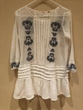 dc3155e7873 Free People Jocelyn Ivory   Blue Lace Embroidered Top Polka Dots Bohemian XS