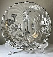 Silver City Flanders Poppy Caprice Sterling Silver Crystal 4 Footed Serving Bowl