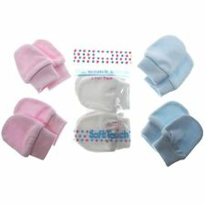 Baby scratch mitts 2 pair pack in pink or white or blue 100% cotton  soft touch