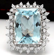 14.80 Carats NATURAL AQUAMARINE and DIAMOND 14K Solid White Gold Ring
