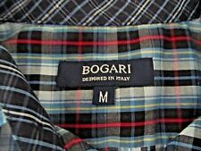 EUC BOGARI DESIGNED IN ITALY MENS LONG SLEEVE BUTTON DOWN BLUE PLAID SHIRT M