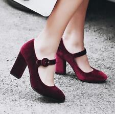 Retro Womens block Heels Velvet Mary Janes Court Dance OL dress casual Shoes