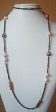Collana lunga in ematite bronzo e perle di fiume barocche 102 cm