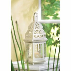 6 Moroccan Style Candle Lanterns Lacy White w/ Ivy Vine Design Etched Glass