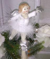 Angelo di Natale Figura Bianco Argento Decorazione Shabby Chic