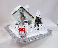 Winter Snowman Sparkle Village House Christmas Scene Table Top Display NEW