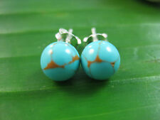 100% Real 925 Sterling Silver 6mm synthetic turquoise BALL STUDS earrings - GIRL