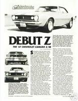 1967 CHEVROLET CAMARO Z/28 ---DEBUT Z---  Z28