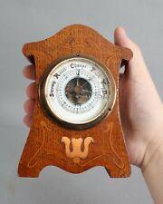 """Rare Antique Miniature 5"""" Art Nouveau Inlaid Oak Case & Barometer No Reserve"""