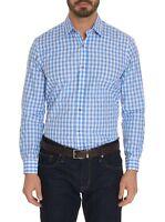 Robert Graham Diamond L/S Checkered Print Sport Shirt, Blue