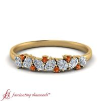 Pear Shaped Diamond Delicate Wedding Band With Round Orange Sapphire 0.45 Ctw
