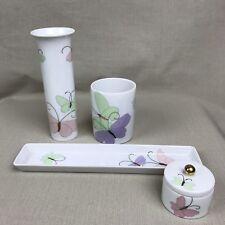 Fitz & Floyd Vintage 1980s Porcelain Butterfly Borealis Set Bed & Bathroom