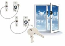 2 White Child Safety Window Lock Cable Restrictor Child Proof Key Security Wire
