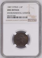 1887 Cyprus 1/4 Piastre NGC UNC Details Rare 60K Mintage